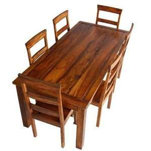 7 Pc Rustic Wood Dining Room Table Chair Set Furniture