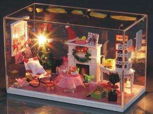 Light dollhouse miniatures Merry Christmas Room kit with cover