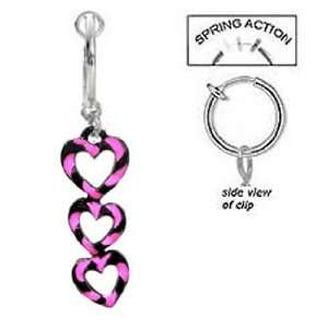 Fake Belly Navel Non Clip on 3 Hot Pink and Black Swirl Hearts dangle