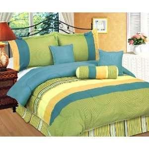 7Pcs Queen Blue and Green Stripes Bedding Comforter Set