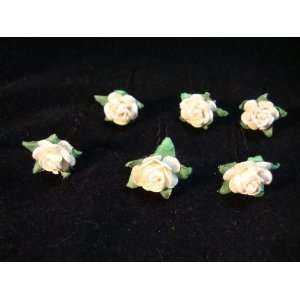 Small White Paper Rose Flower Hair Pins   Set of 6 Everything Else