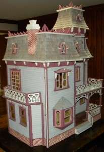 Large 8 Room Wooden Hand Crafted Doll House With HUGE Accessory