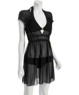 Badgley Mischka Platinum Label black chiffon sequined trim coverup