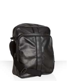Ben Sherman black faux leather flight bag