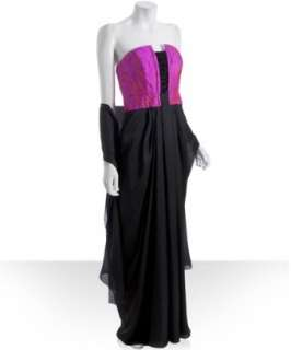 Theia hot pink jacquard silk strapless gown with wrap   up to