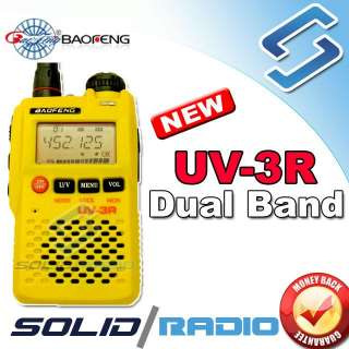 Yellow BaoFeng UV3R dual band pocket portable radio
