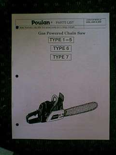 POULAN CHAIN SAW 2250 2450 2550 TYPE 1 7 PARTS MANUAL