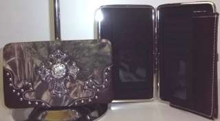 CAMO CAMOUFLAGE NEW RHINESTONE CROSS WESTERN PURSE FLAT WALLET