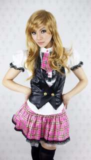 Japan Cosplay Sexy lace Pink plaid school Girl Costume