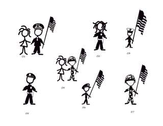 ARMY & POLICE FAMILY STICK FIGURE CAR DECAL