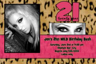 Hot Pink Zebra Print First 1st Birthday Invitations
