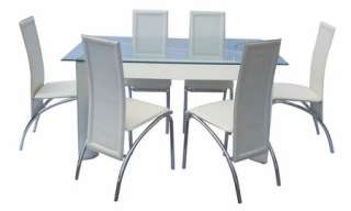 Contemporary Tempered Glass Dining Table White Vinyl Leather Chairs