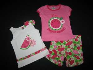 NEW 3 pc Watermelon Sweetie Shorts Girls Summer 2T