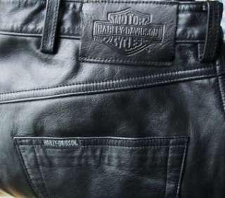 HARLEY DAVIDSON Black Leather Riding Pants Chaps Mens 34x32 HD